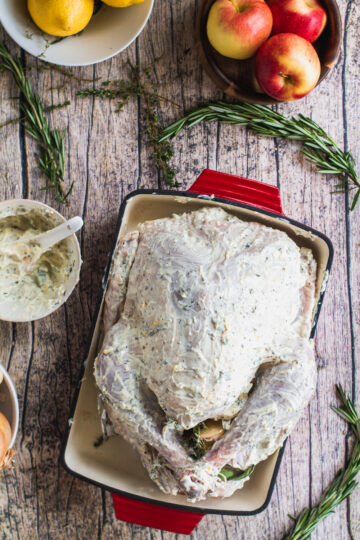 A thanksgiving turkey in roasting pan, covered in lemon herb compound spread with Duke's mayonnaise
