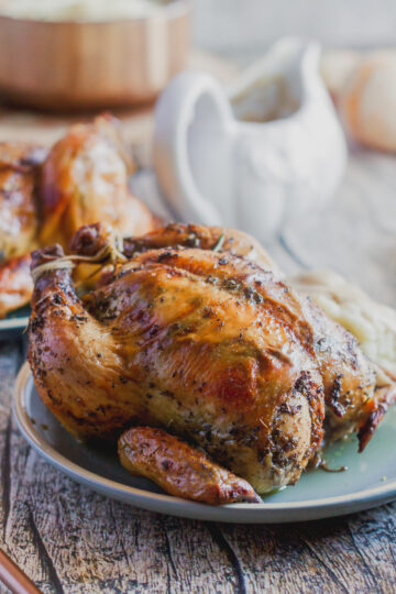 a close up of a roasted cornish hen with crispy brown skin served with mashed potatoes