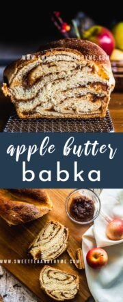 This delicious autumn twist on the traditional babka has sweet apple butter swirled throughout the rich, buttery brioche-like dough.