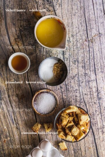 the ingredients for babka bread pudding