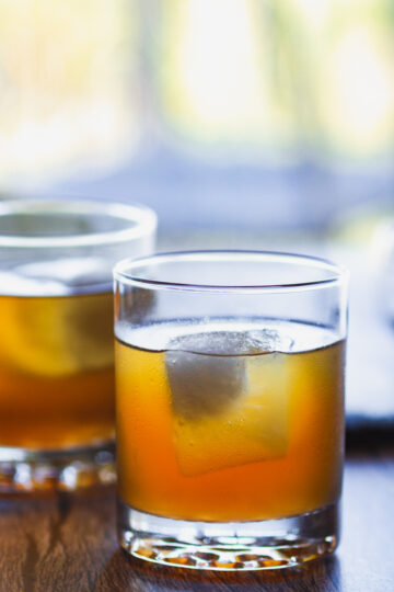 a closer view of sweet tea and bourbon in a glass